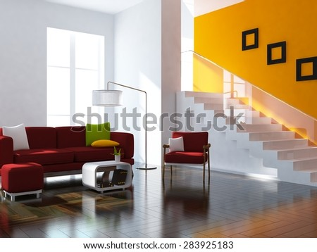 3d illustration of a orange interior with red furniture
