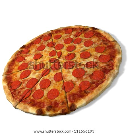 3d illustration of a pepperoni pizza