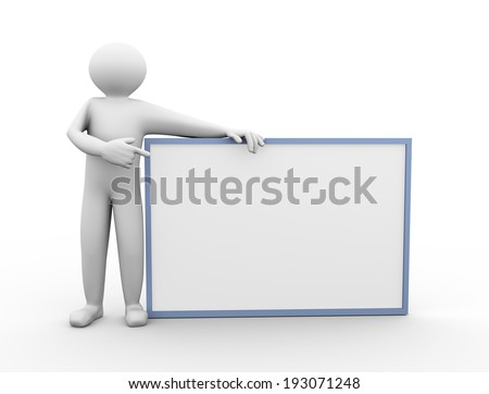 3d illustration of a person standing with black white board. 3d human person character and white people