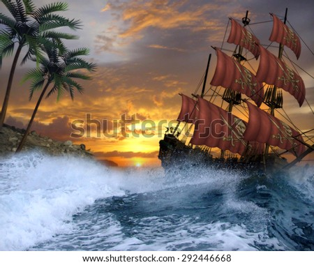 3D illustration of a Pirate Ship being tossed about on a ruff ocean with palm tree's and  a beautiful sunset.  Perfect for your renders or photo manipulations.