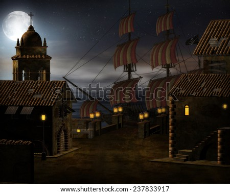 3d illustration of a Pirate ship in port with the sea and night moon shining on it.