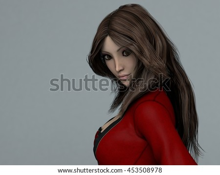 3d illustration of a pretty anime young girl in red outfit - stock photo