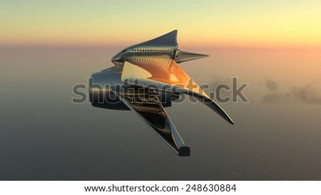 3d illustration of a prototype aircraft flying  - stock photo