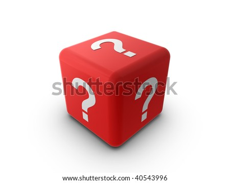 3d illustration of a red cube or dice, with a question mark symbol on each side. - stock photo