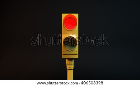 3D illustration of a red light - stock photo
