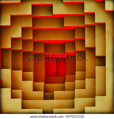 3d illustration, of a red light burning from the bottom of the pyramid