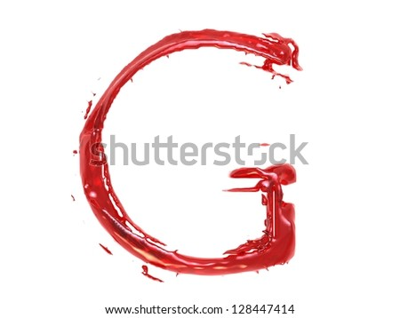 3d illustration of a red plastic letter G on white background - stock photo