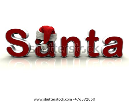 3D illustration of a red Santa text isolated on a white background with shadows.