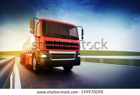 3d illustration of a red truck on blurry asphalt road under blue sky and sunset light - stock photo