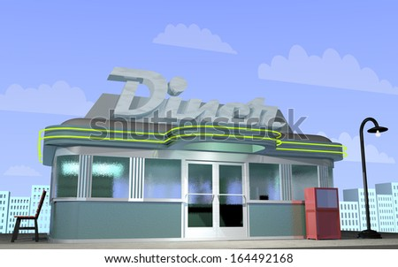 3D illustration of a retro diner with a city scape behind. - stock photo