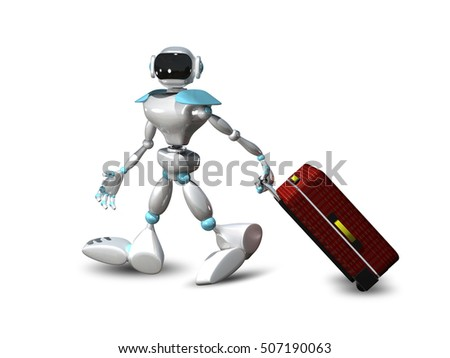 3D Illustration of a Robot with  Suitcase