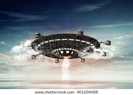 3d illustration of a rusty ufo in the sky