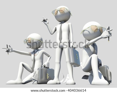3d illustration of a salesman team - stock photo
