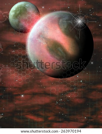 3D illustration of a Sci-fi background.  Featuring a giant pink planet and a smaller green and white planet over a space nebula.  All ready for your Photo-Manipulations or 3D renders.  - stock photo