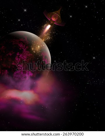 3D illustration of a Sci-Fi background.  Featuring a pink and black planet, space nebula and tiny spaceship over a black star field.  All ready for your Photo-Manipulations or 3D renders.  - stock photo