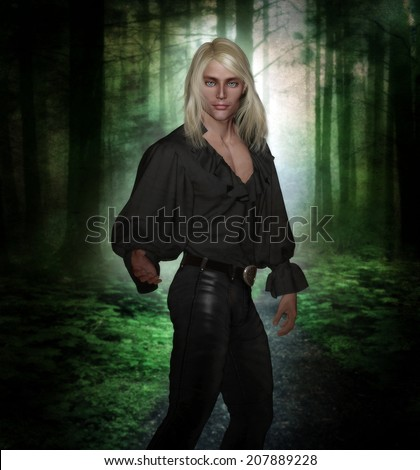3D illustration of a sexy male character wearing tight leather pants and a poet's shirt with long blonde hair and blue eyes with a forest scene in the background.  - stock photo