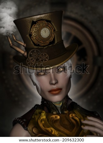 3D Illustration of a sexy  Steam punk female with Clock Eyes, wearing a top hat with smoke stacks and steam coming out of them.   Clocks and gears and steam  in the background. - stock photo