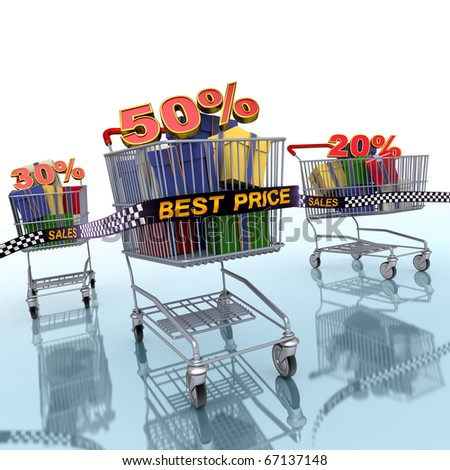 3d Illustration of a shopping carts which abstract discount percentages.