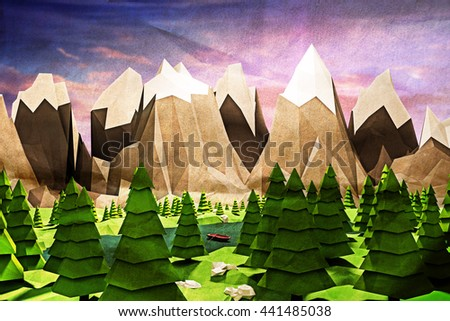 3d illustration of a simple landscape low poly - stock photo
