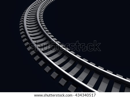 3D Illustration of a Single curved railroad track on dark