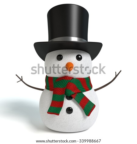3d illustration of a snowman