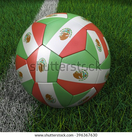 3D illustration of a soccer ball with Mexico flag on green field. - stock photo