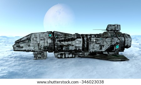 3D illustration of a space ship - stock photo