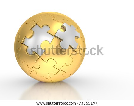 3d illustration of a spherical puzzle with steel segments on a white background - stock photo