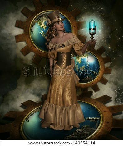 3D illustration of a Steam Punk beautiful female dressed in a gold Victorian gown holding a glowing blue lamp with large gears and globes of the earth in the background.