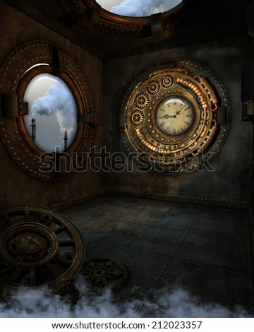 3D illustration of a Steampunk background. A room with a view of smoke stacks, gold clock and grungy floor clock.  All ready for your photo-manipulations or 3D renders.