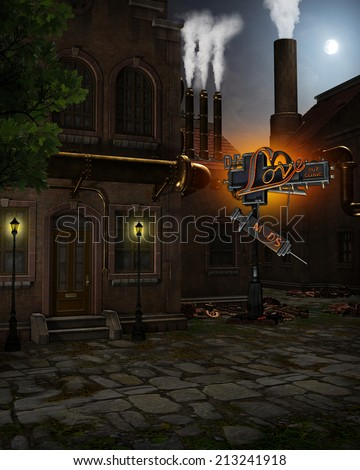3d illustration of a Steampunk Background. Contains old brick buildings with brass pipes, smokestacks with steam, metal junk piles and a neon sign. Ready for your photo-manipulations or 3D renders.  - stock photo