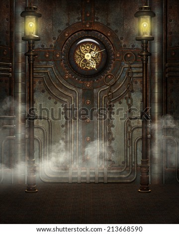 3d illustration of a Steampunk Background. Contains rusty metal wall, clock, metal lamp posts, rusted floor and steam. Ready for your photo-manipulations or 3D renders.  - stock photo