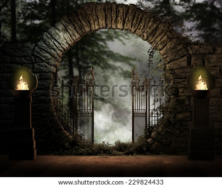 3D illustration of a stone gated moon entrance with Celtic burners on either side lighting the entrance to the forest and mist background.