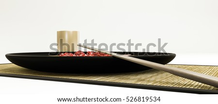 3d illustration of a sushi style plate isolated on white background