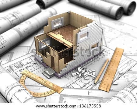 3d illustration of a two-story house plan and drawings - stock photo