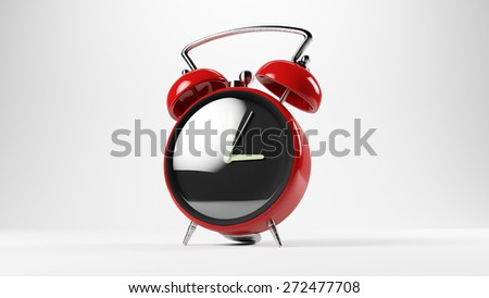 3D illustration of a vintage clock alarm on a white background - stock photo
