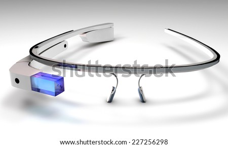 3D Illustration of  a wearable computer technology with an optical head-mounted display  - stock photo