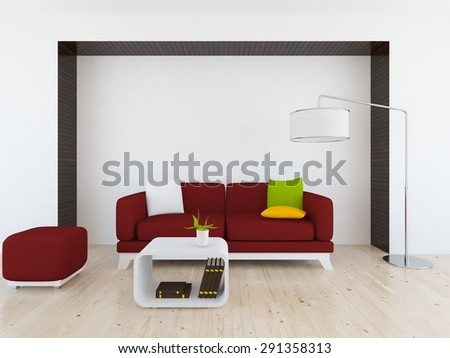 3d illustration of a white interior with red furniture