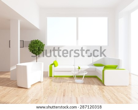 3d illustration of a white large living room - stock photo