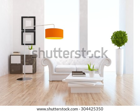3d illustration of a white living room - stock photo