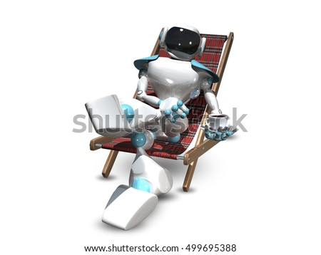 3D Illustration of a White Robot in a Deckchair
