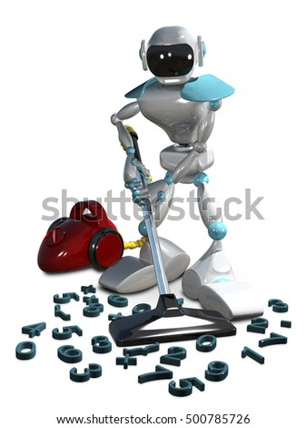 3D Illustration Of A White Robot With Vacuum Cleaner