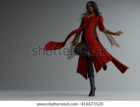 3d illustration of a wizard woman - stock photo