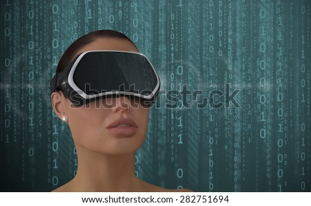 3D Illustration of a Woman wearing a Virtual reality head-mounted display (HMD). - stock photo