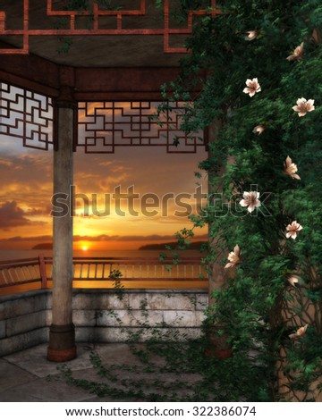 3D illustration of a wooden Asian gazebo with flowering climbing ivy on a trellis, beautiful sunset sky and water in the background.  Perfect for your renders or photo-manipulations.  - stock photo