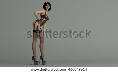 3d illustration of a young asian girl wearing lingerie with dagger attached - stock photo