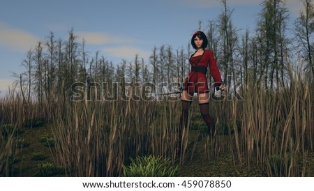 3d illustration of a young asian woman warrior outdoor - stock photo