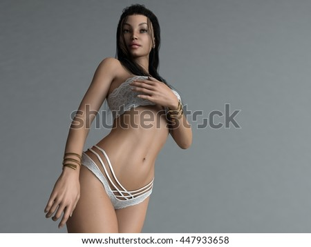 3d illustration of a young woman posing in lingerie - stock photo