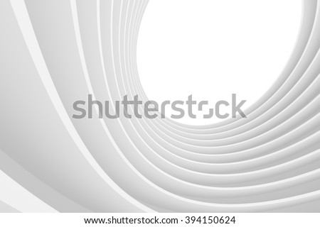 3d Illustration of Abstract Architecture Background. White Tunnel Building - stock photo