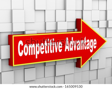 3d illustration of abstract cube wall arrow design concept of competitive advantage - stock photo